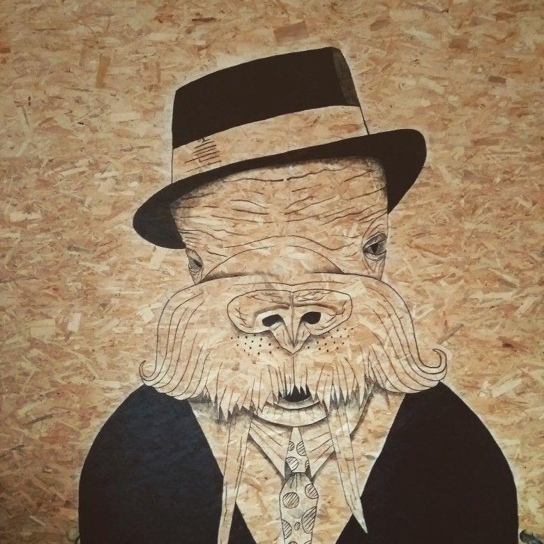 Dessin grand format (2m45x2m) sur mur OSB Réalisé par Lucile Maury - apprendre a peindre un mur