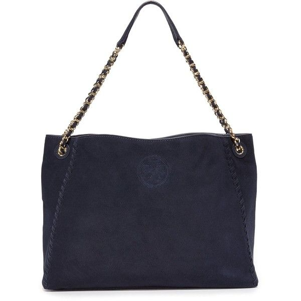 Tory Burch Marion Suede Chain Shoulder Tote (33,180 INR) ❤ liked on Polyvore featuring bags, handbags and tote bags