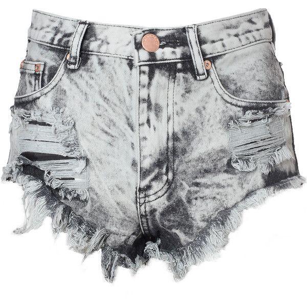 Grey Acid Wash Frayed Denim Hotpants ($46) ❤ liked on Polyvore ...