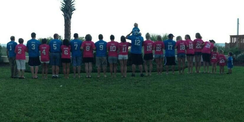 Myrtle beach family vacation - family  t shirts sound corny but they honestly ended up being really cute. Names and numbers by age.