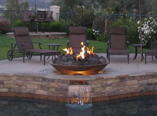 Diy glass fire pit raised copper bowl for the home - Pool fire bowls ...