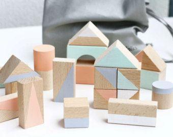 24 wooden blocks in Pastel colours packed in cotton bag- Woo…