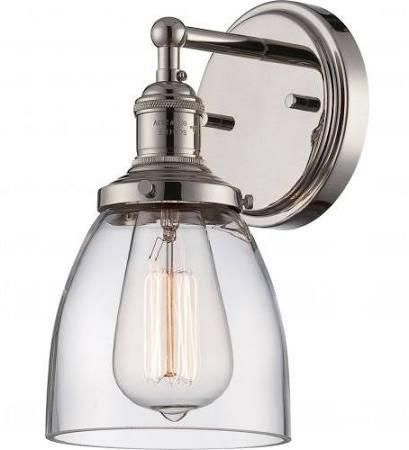 Vintage Wall Sconce In Polished Nickel By Nuvo Lighting - Polished nickel bathroom wall sconces