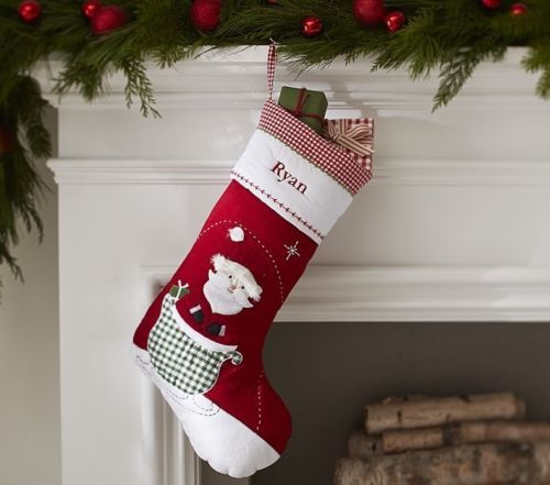Pottery Barn Kids Quilted Red Santa Sleigh Christmas Stocking New No Name Cute