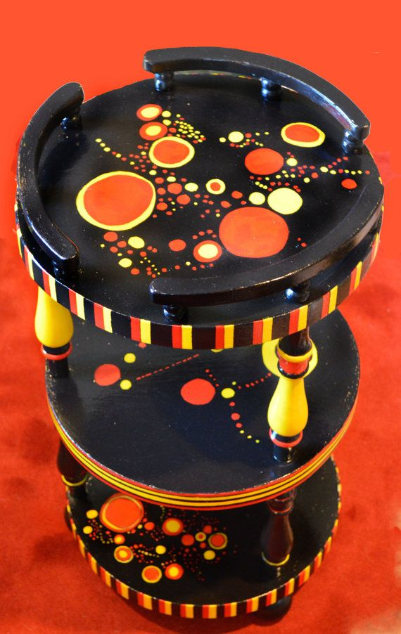 Hand-painted, refurbished side table on Etsy, $145.00