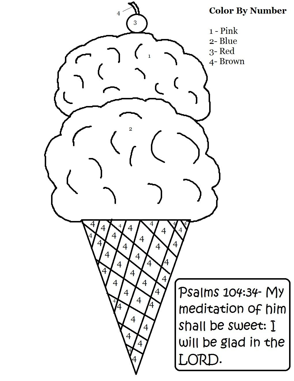 Ice Cream Color By Number.jpg (1019×1319) | Sunday school ...