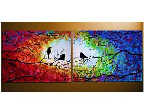 Cuadros tripticos arbol de la vida y pajaros pintados a mano pajaros pinterest arte - Cuadros modernos para pintar ...