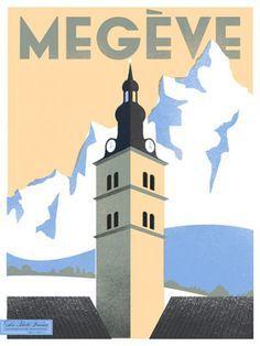 Megève ~ France | Affiches de voyage rétro, Affiches de voyage, Affiches anciennes