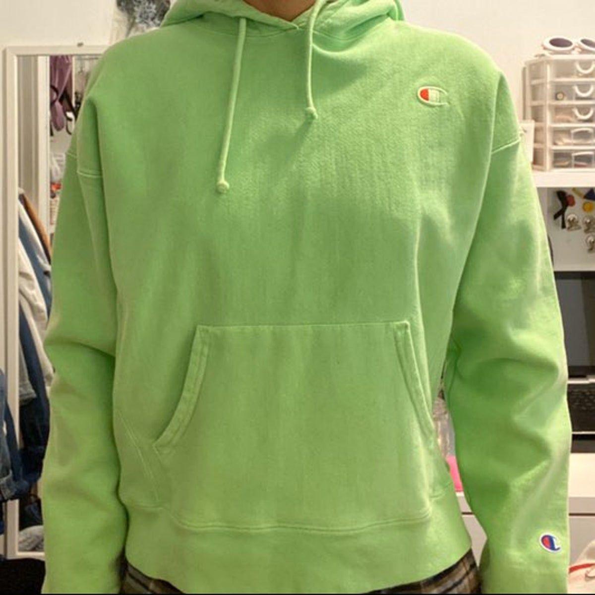 Neon Green Champion Hoodie In 2021 Green Champion Hoodie Champion Hoodie Champion Sweatshirt [ 1200 x 1200 Pixel ]