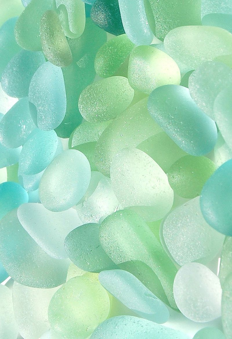 Nature Image Sea Glass In Energy Greens And Cool Pastels