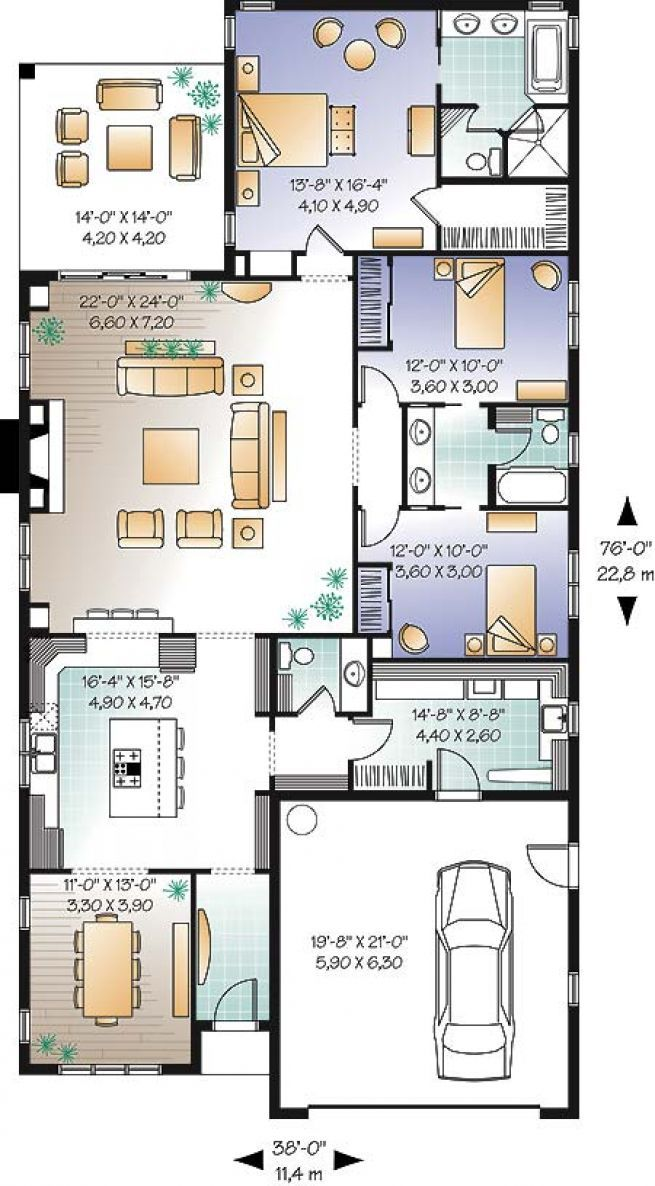 Plan Maison Foyer Central : Plan de maison unifamiliale lauderdale no w déco