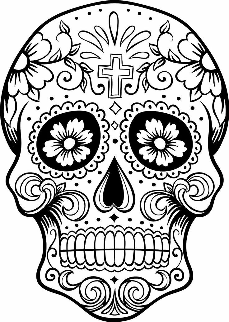 Sugar Skull Coloring Page Sugar Skull Pinterest Sugar Skulls - candy skull coloring pages