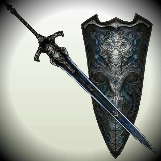 greatsword and shield of knight artorias medieval arms
