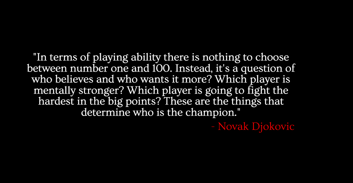 This Quote From Novak Djokovic Shows That He Believes The Difference Between A Contender And A Inspirational Tennis Quotes Tennis Quotes Mental Strength Quotes