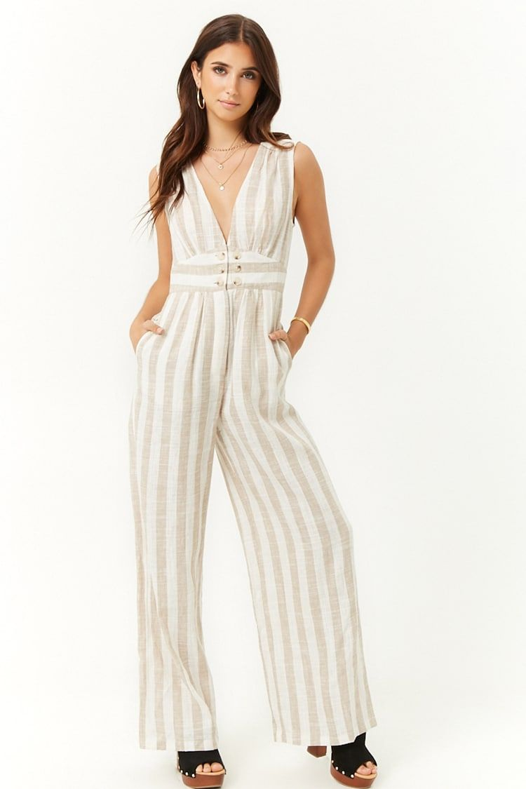 5a15cee69ca Striped Button-Front Linen-Blend Jumpsuit