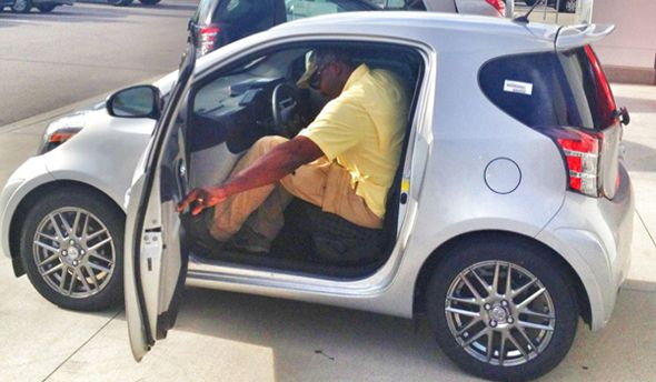 Former Utah Nba Jazz Player Karl Malone In A Tiny Toyota Scion Iq Car Hahahaha