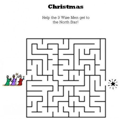 Kids Bible WorksheetsFree Printable Christmas Maze  Holiday