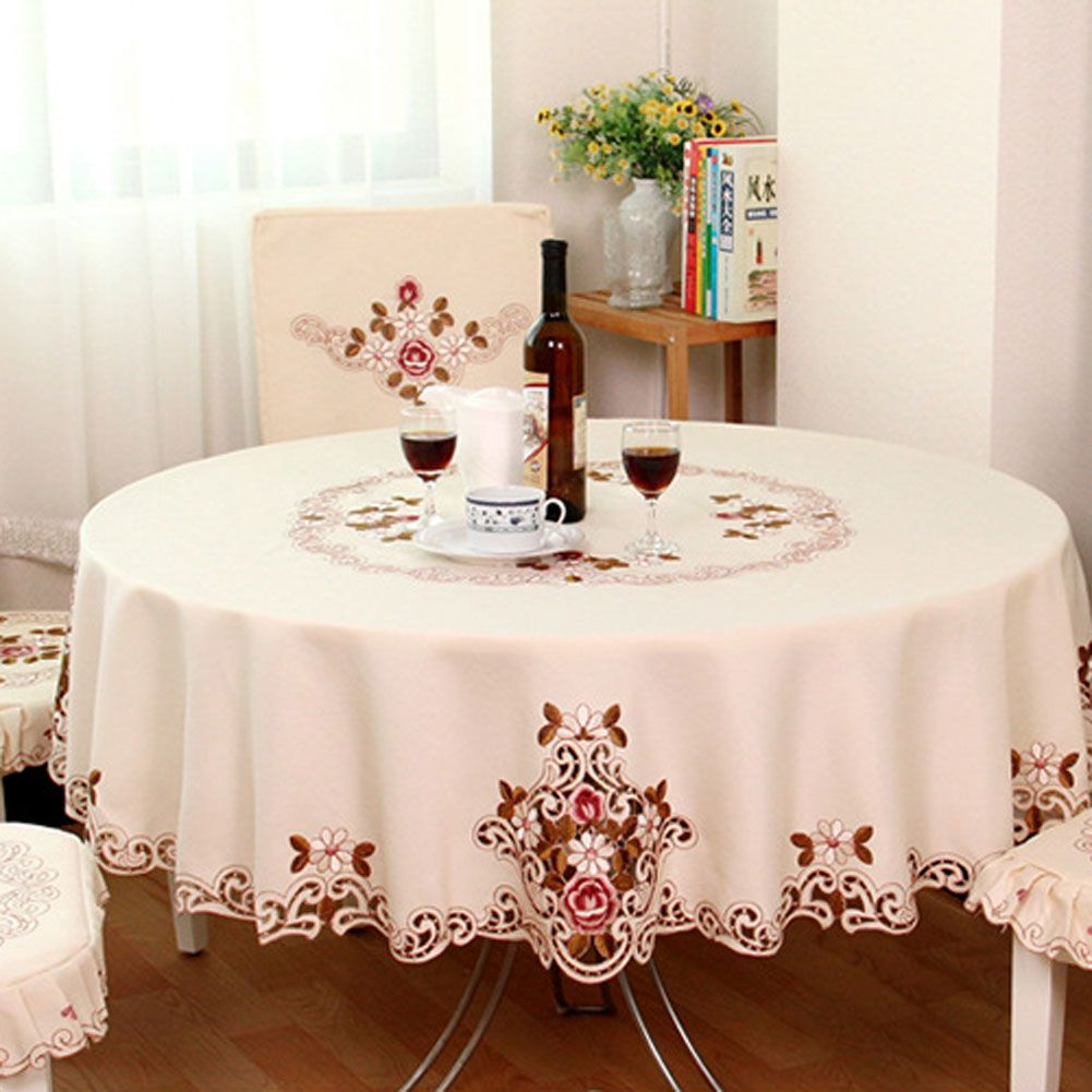 1 Piece Elegant Table Cloth/Exquisite Embroidery Fabric Art Tablecloth/  Modern Rural Style Round