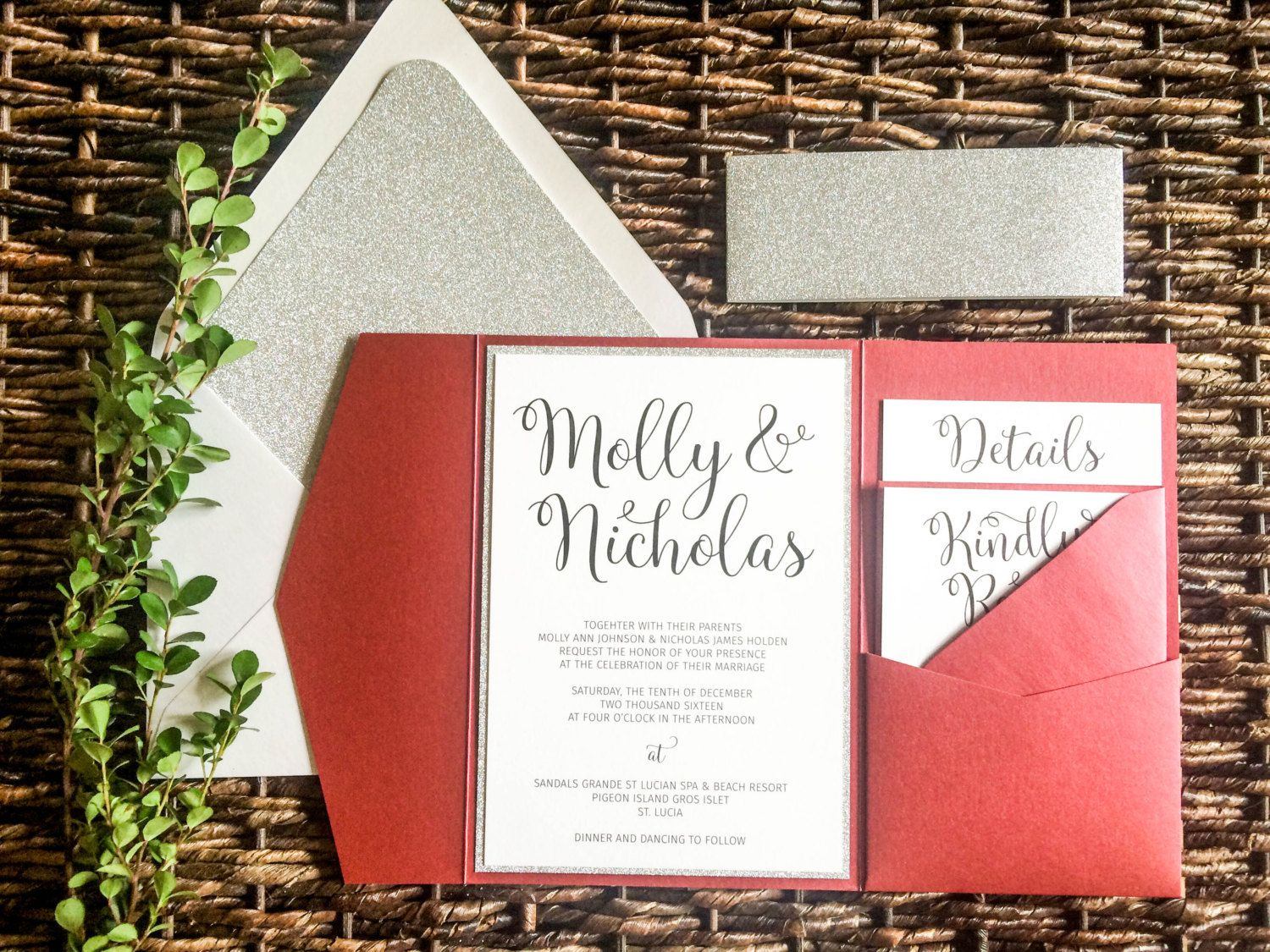 This Silver Glitter & Red Pocket Wedding Invitation is perfect for ...
