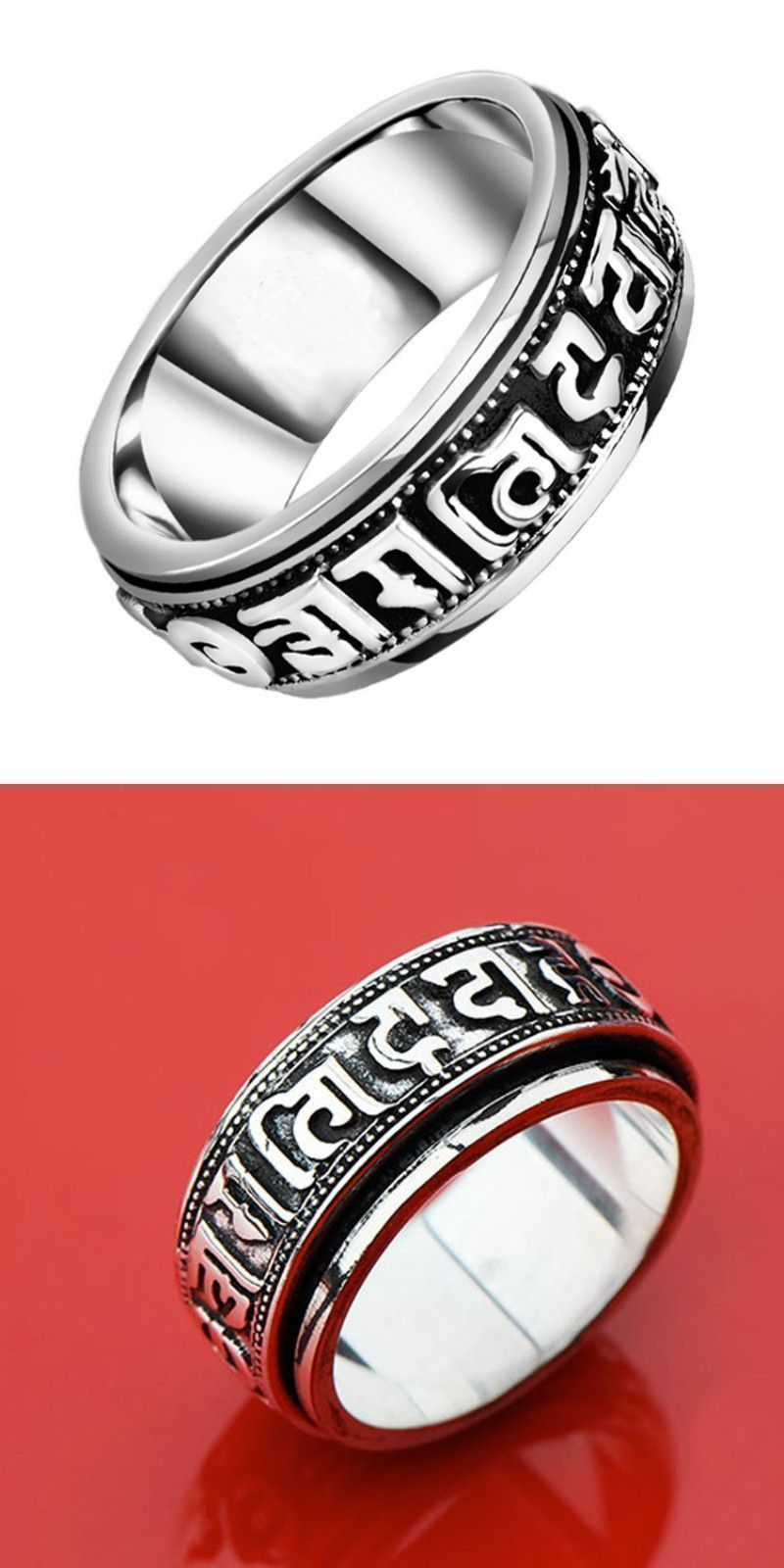 Endless friendship menus vintage punk rings for men metal mantra