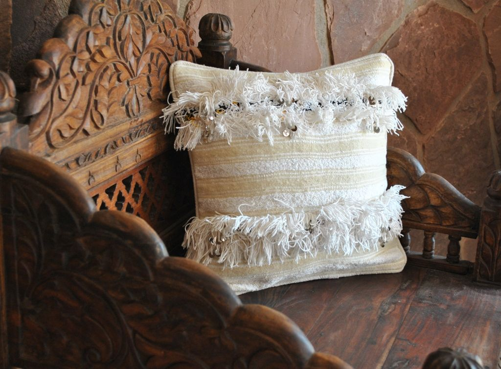 Handira Pillow made from vintage morrocan wedding blanket, I definitely want a couple of these!