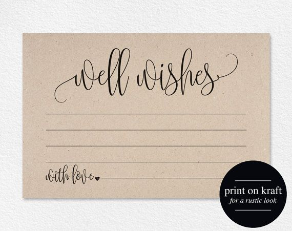 Well Wishes, Wedding Advice Cards, Well Wishes Card, Well Wishes for