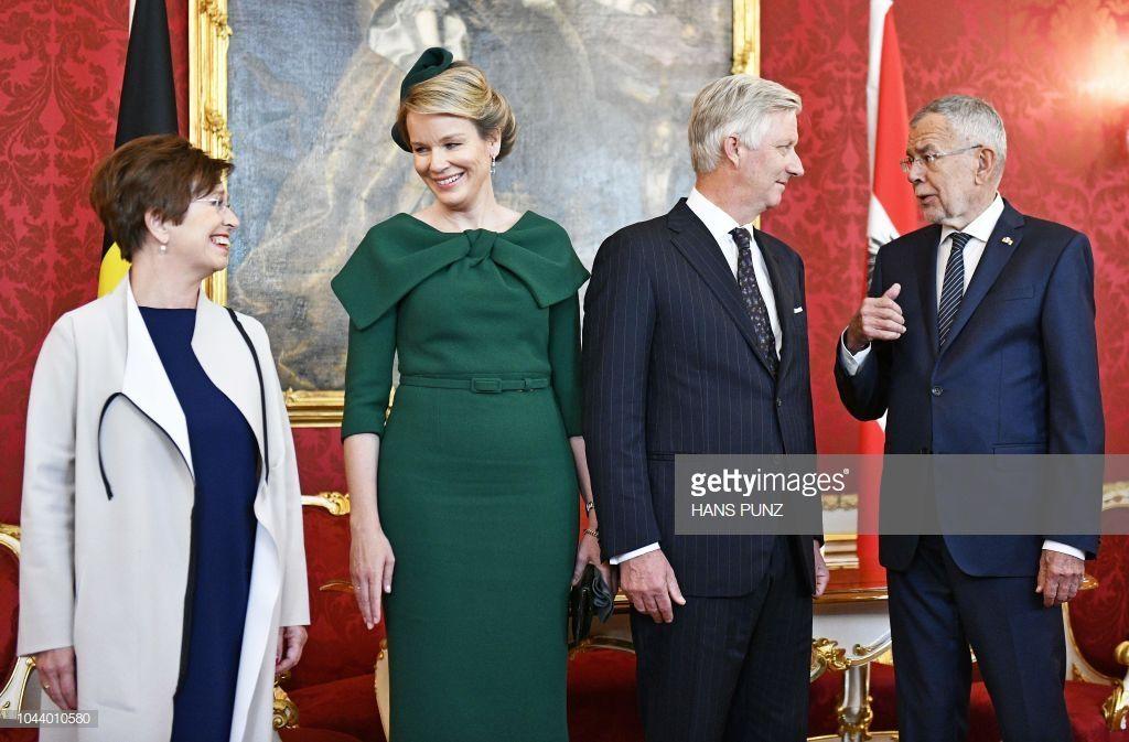 Queen Mathilde And King Philippe Of Belgium Speak With Austrian