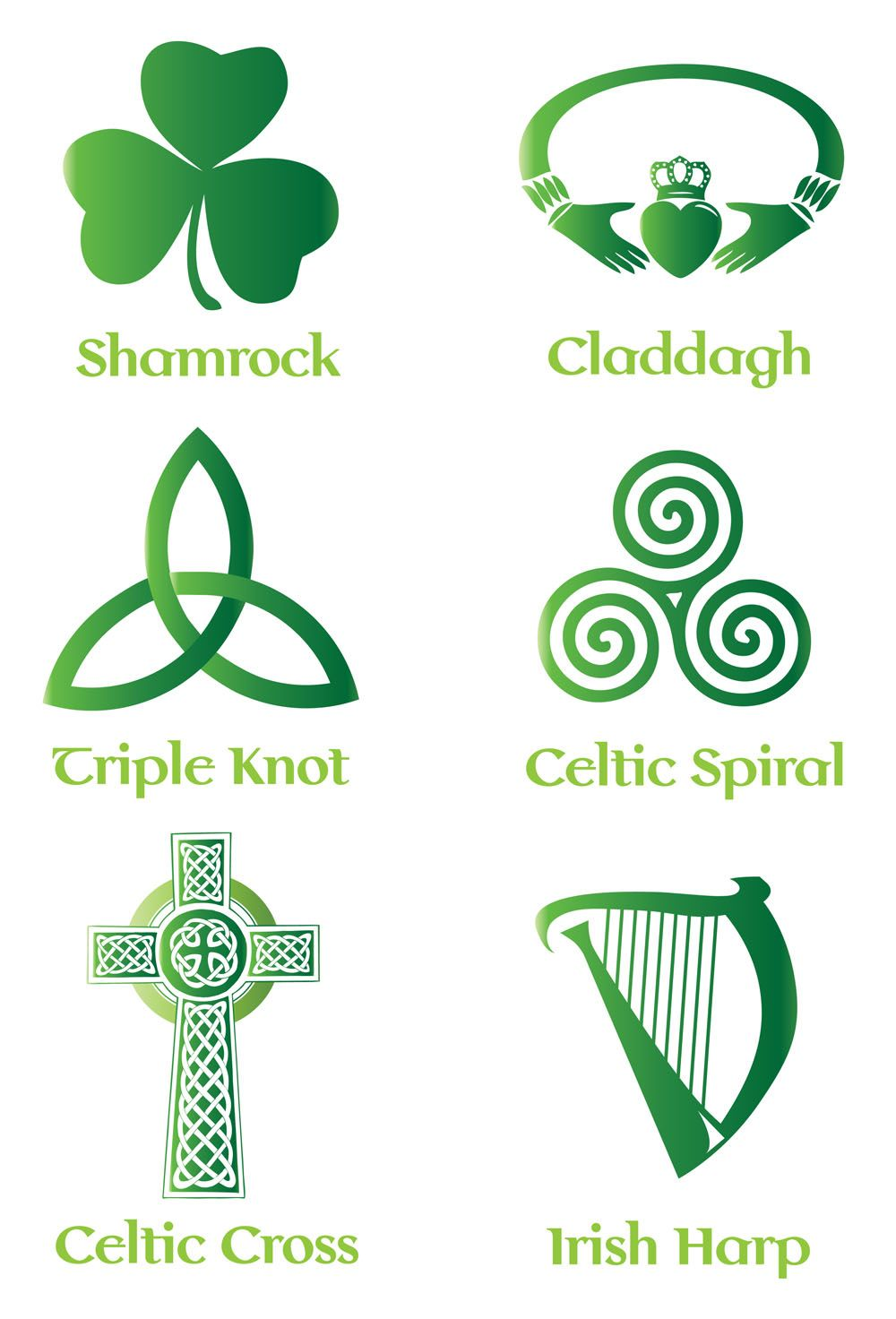 Irish Celtic Symbol Vector Set Backgrounds Buttons Patterns Free