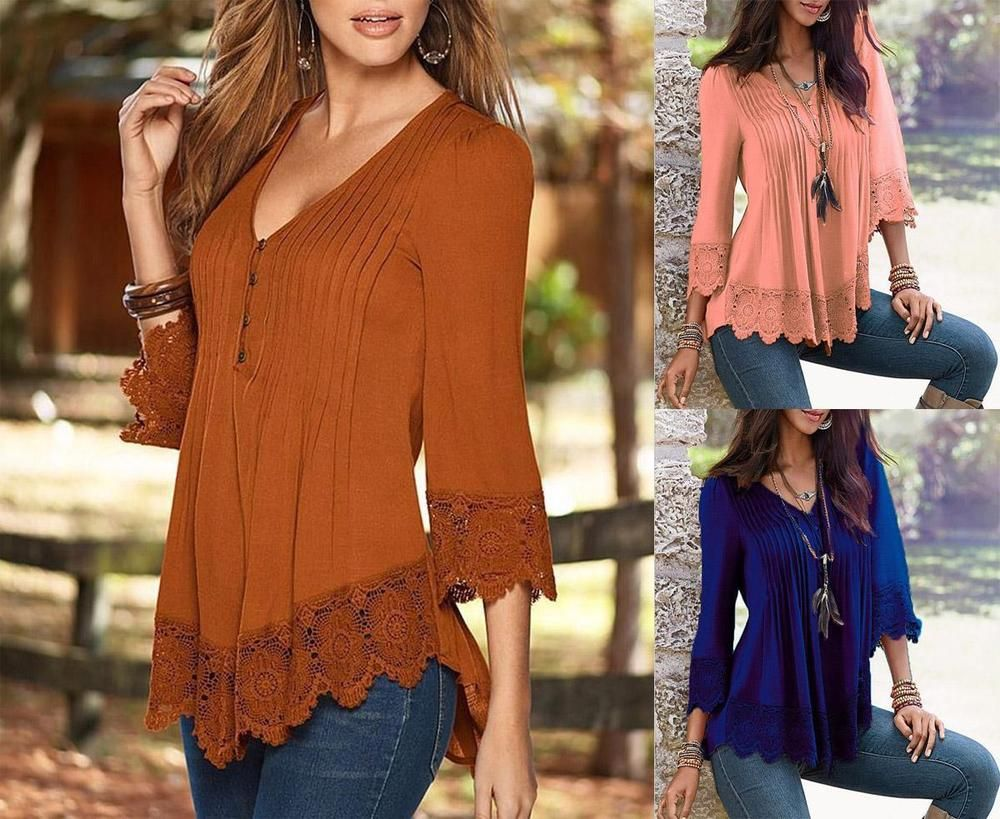 Fashion Womens Lace 3/4 Sleeve V Neck T-Shirt Ladies Casual Loose Tops Blouse #LBW #Blouse #Casual