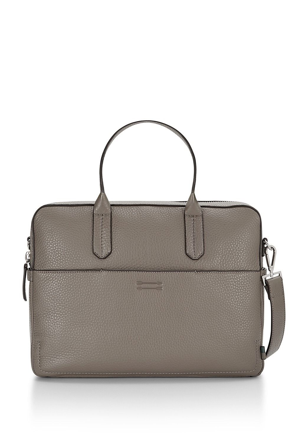 for the Lady Professional! ELEGANT NEW Rebecca Minkoff Dark Taupe Leather Top Zip Closure Fulton Briefcase