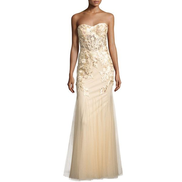 Lm Collection Floral Embroidered Bustier Gown 230 Liked On
