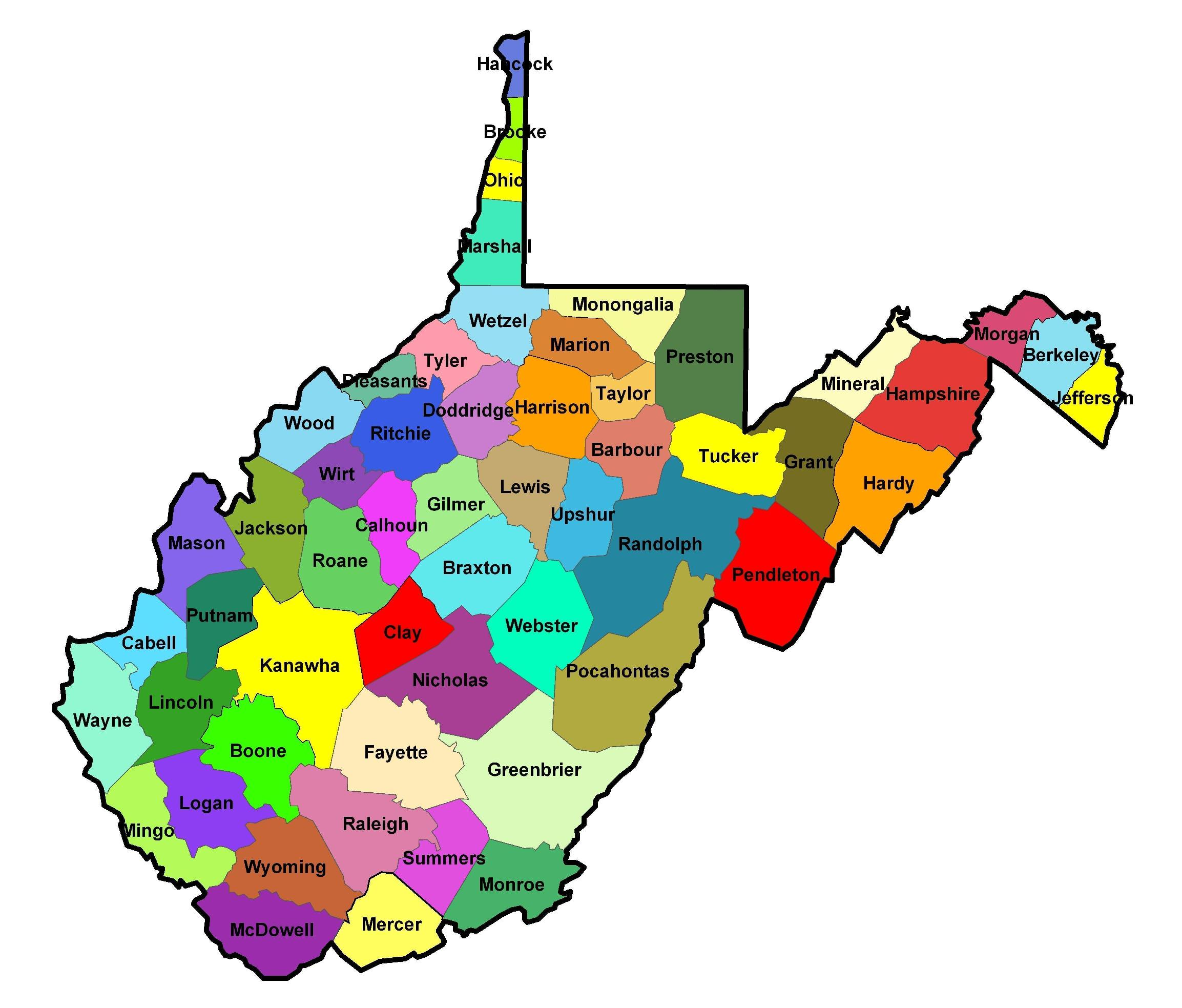 Map of West Virginia counties Virginia