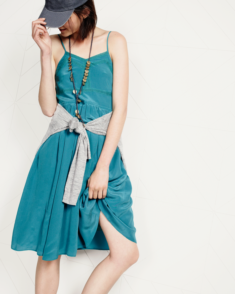 Madewell silk Slowdance cami dress worn with color-tip cardigan + Daniela Bustos Maya™ coin lariat necklace.