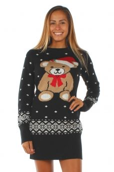 Womens Teddy Bear Sweater Dress Ugly Christmas Sweaters