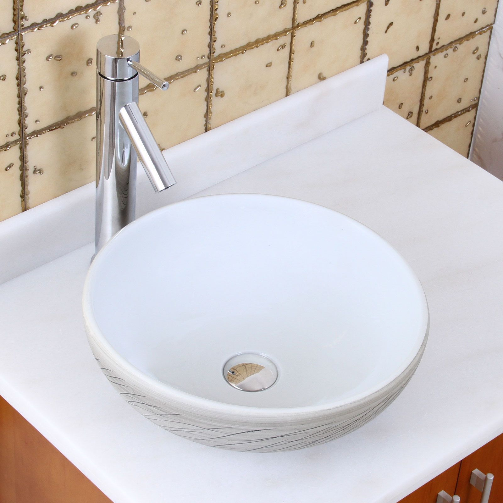 Elite 1575 2659 Round White And Gray Willow Porcelain Ceramic Bathroom Vessel Sink With Faucet Combo Sink Ceramic Sink White Porcelain