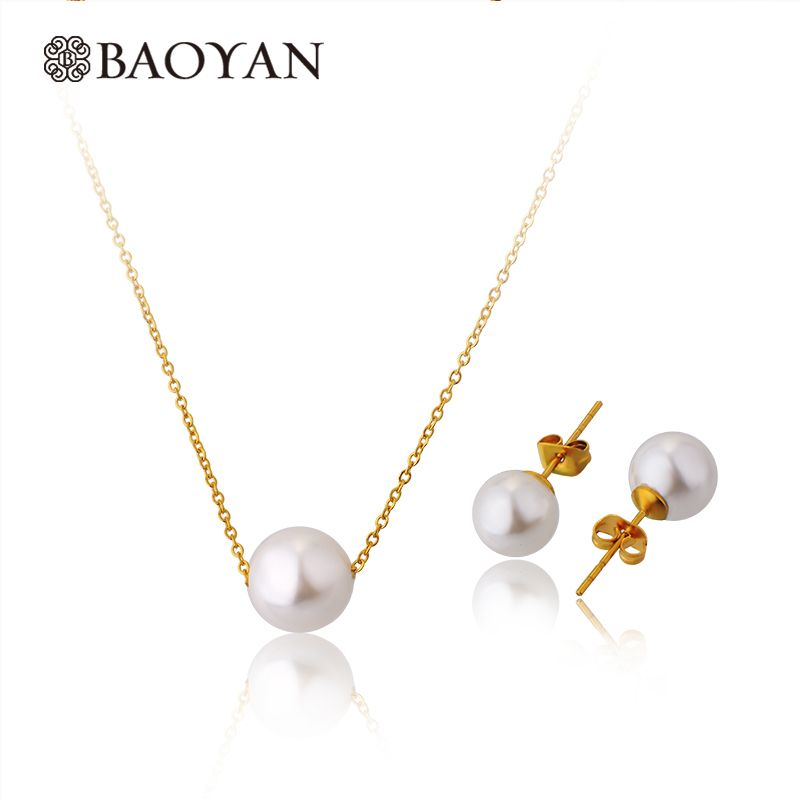Mujeres 45 cm 316l de acero inoxidable de imitación white pearl choker collar y pendiente de la joyería establece collar n5