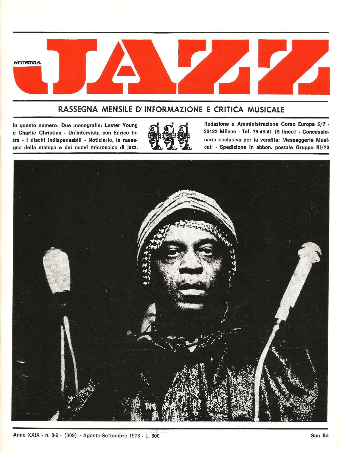 Musica Jazz - Anno XXIX, n°8-9 - Agosto-Settembre 1973; photo: Sun Ra by Roberto Masotti
