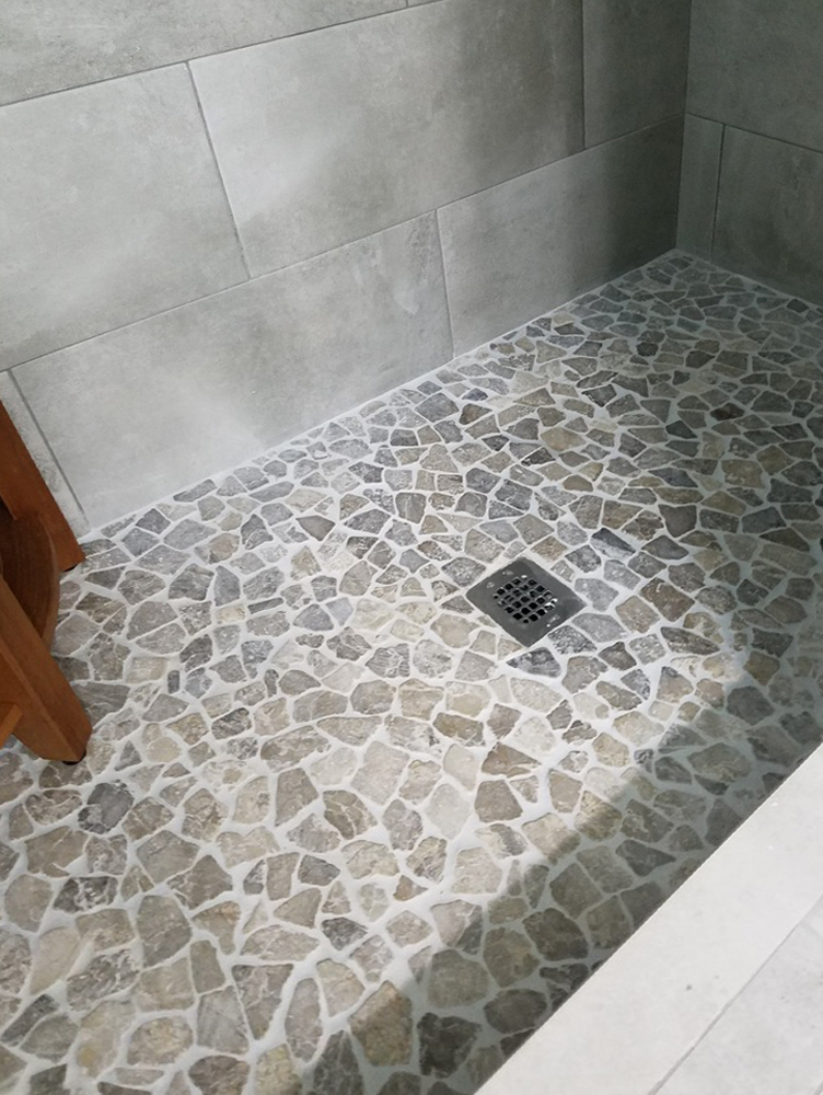 Stone Grey Mosaic Tile In 2020 Stone Tile Bathroom Floor Pebble Tile Shower Mosaic Bathroom Tile