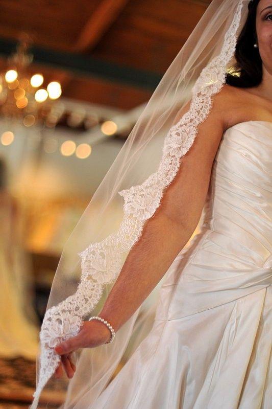 Chapel Length Alencon Lace Wedding Veil  90  by NicoleMaeLaceVeils, $365.00