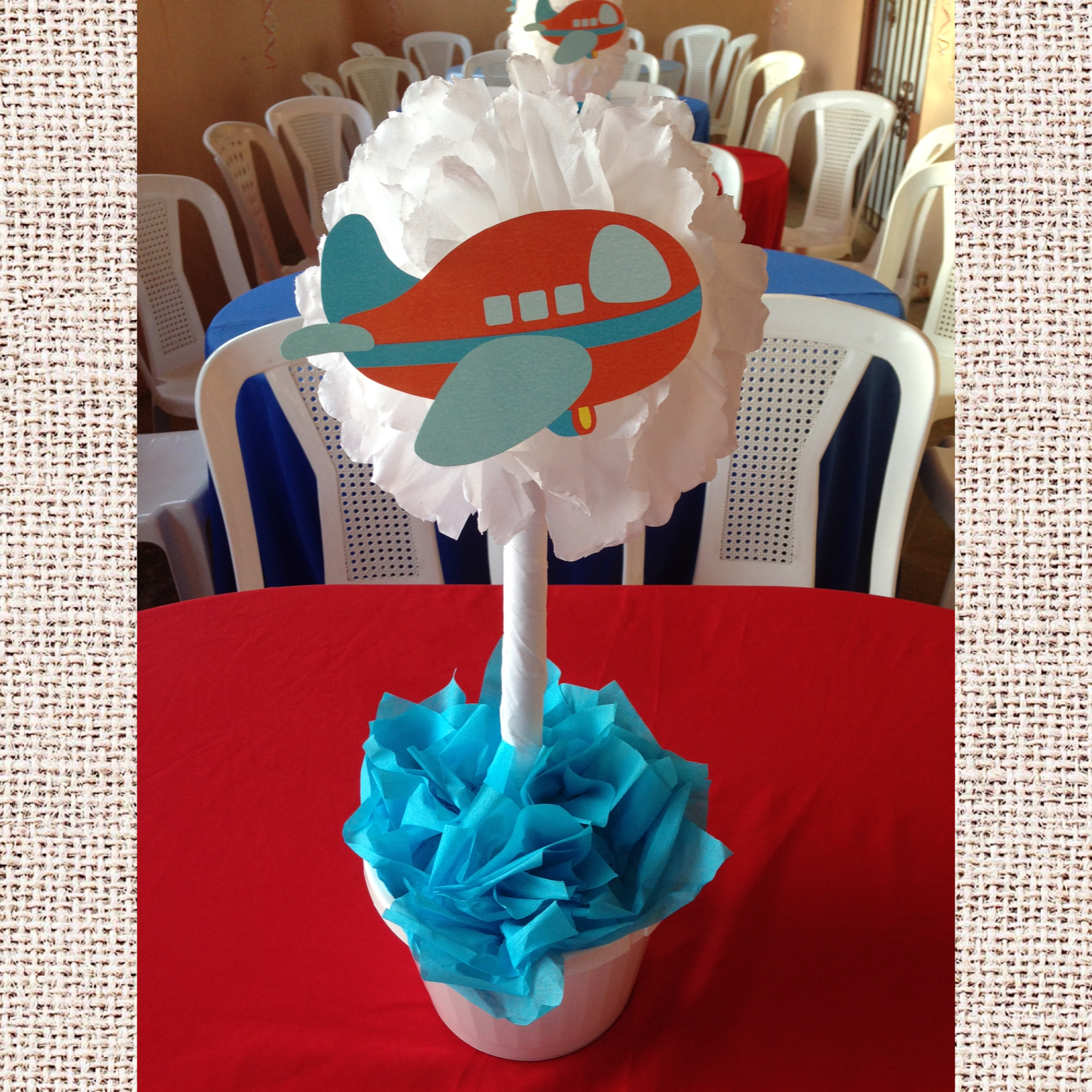 Airplane baby shower centerpiece baby shower pinterest for Airplane baby shower decoration ideas