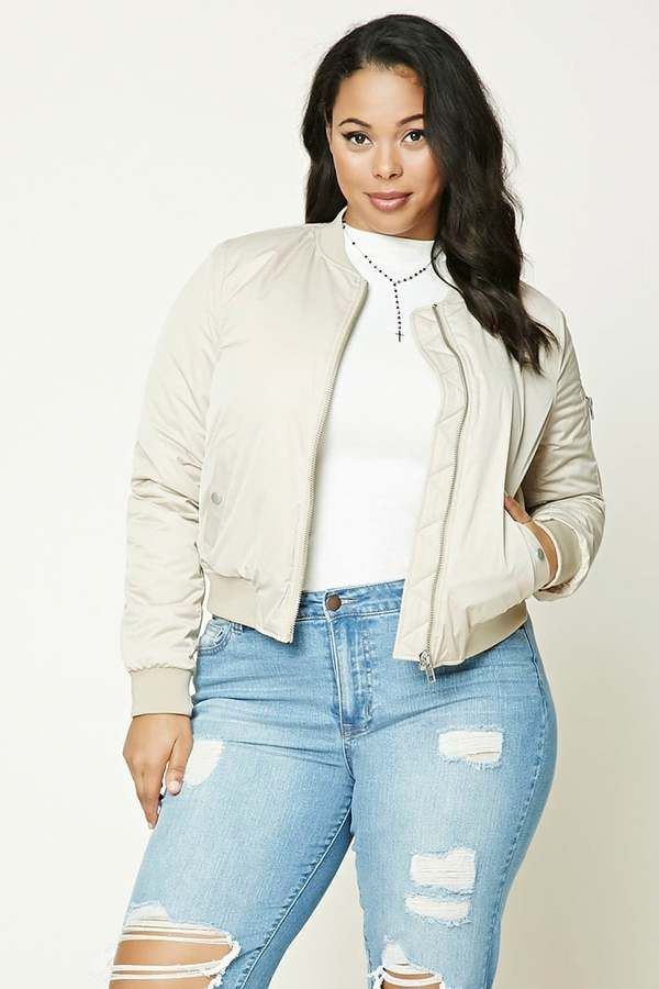 FOREVER 21+ Plus Size Padded Bomber Jacket | Fashion, Plus ...