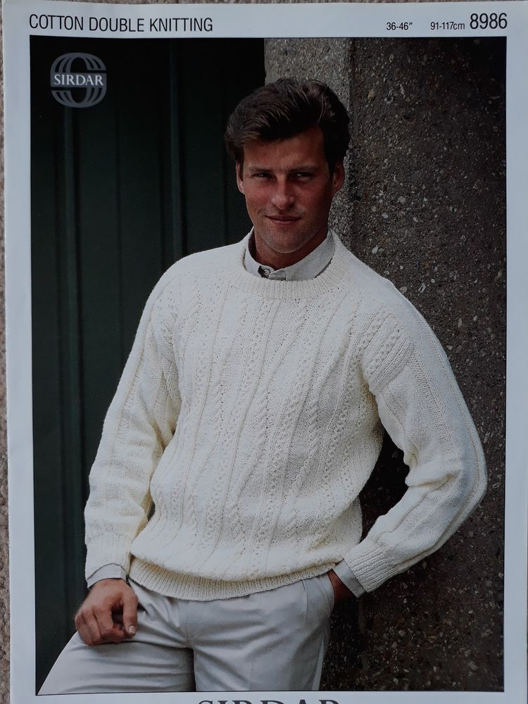 26989dc49 Knitting pattern Sirdar 8986 mens DK round neck cable sweater  Sirdar