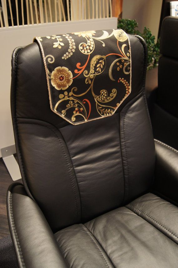 Recliner Chair Headrest Cover Black Floral Swirl Chair Etsy Headrest Black Floral Beige