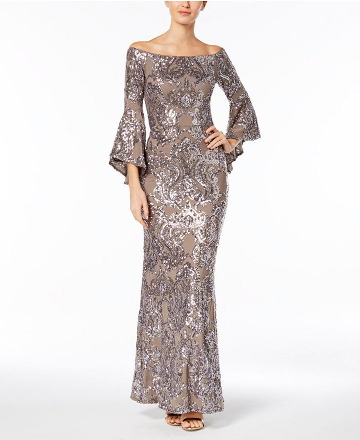 1c1593c0069 Betsy   Adam Sequined Off-The-Shoulder Gown