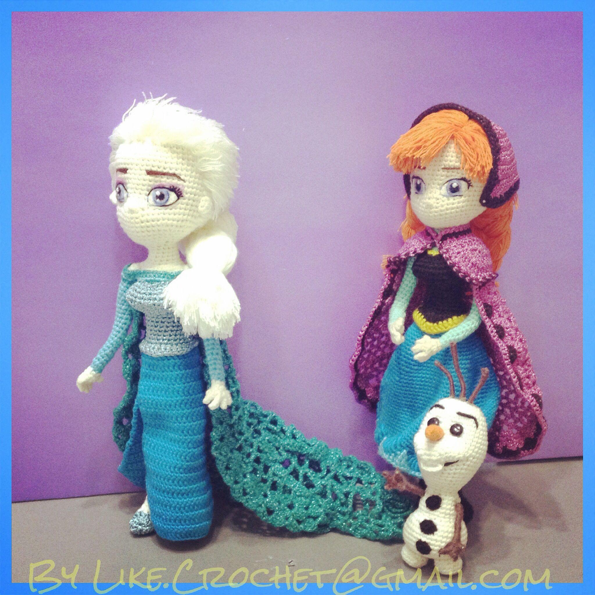 Elsa, Anna, Olaf meet at North Mountain, Frozen Disney amigurumi crocheted dolls pattern