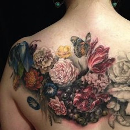 flowers on back by Esther Garcia, Chicago Il , USA | flower tattoos