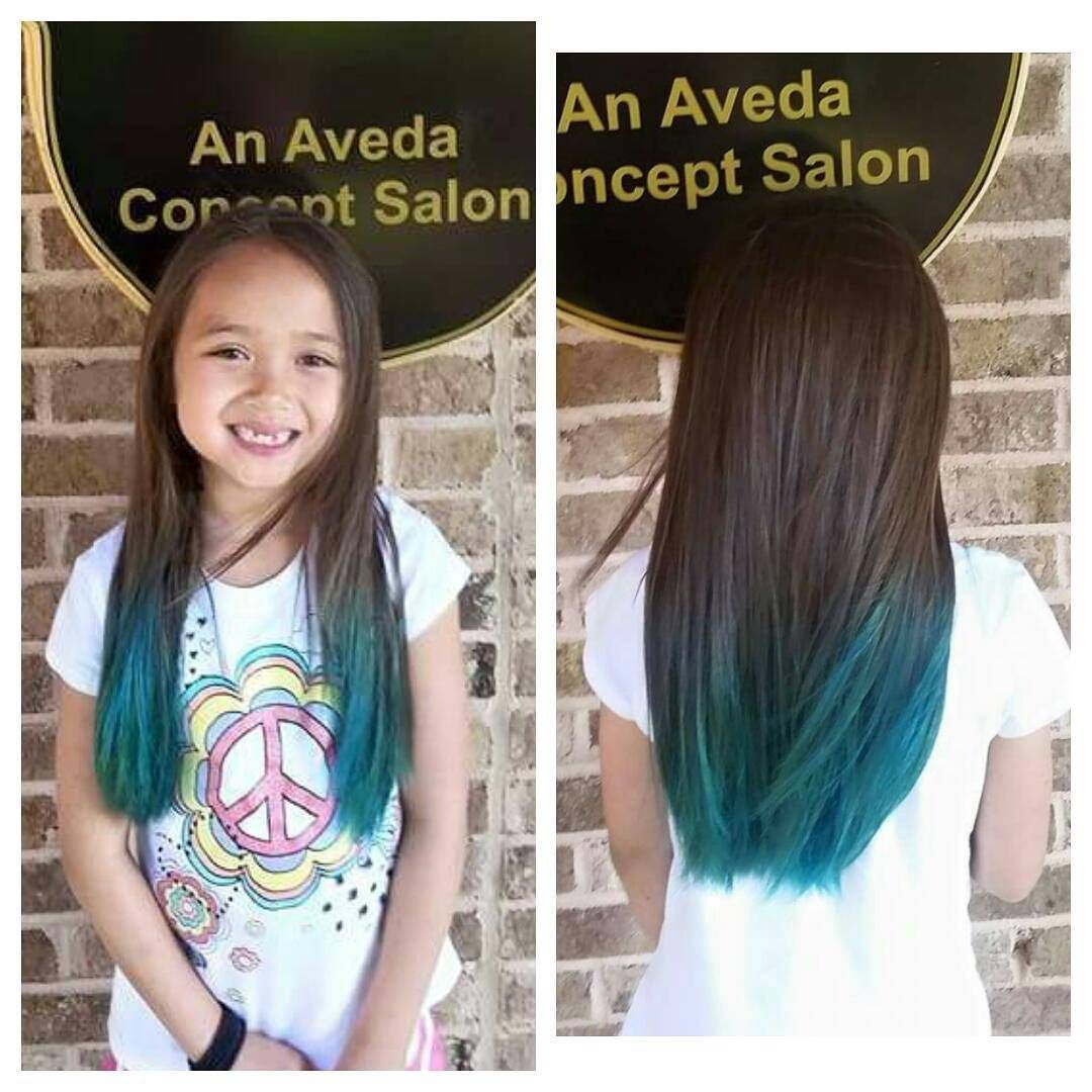Look at this cutie!  she is loving her new turquoise ombre. #turquoise #turquoisehair #turquoiseombre #aveda #avedacolor #thehairandfacelounge