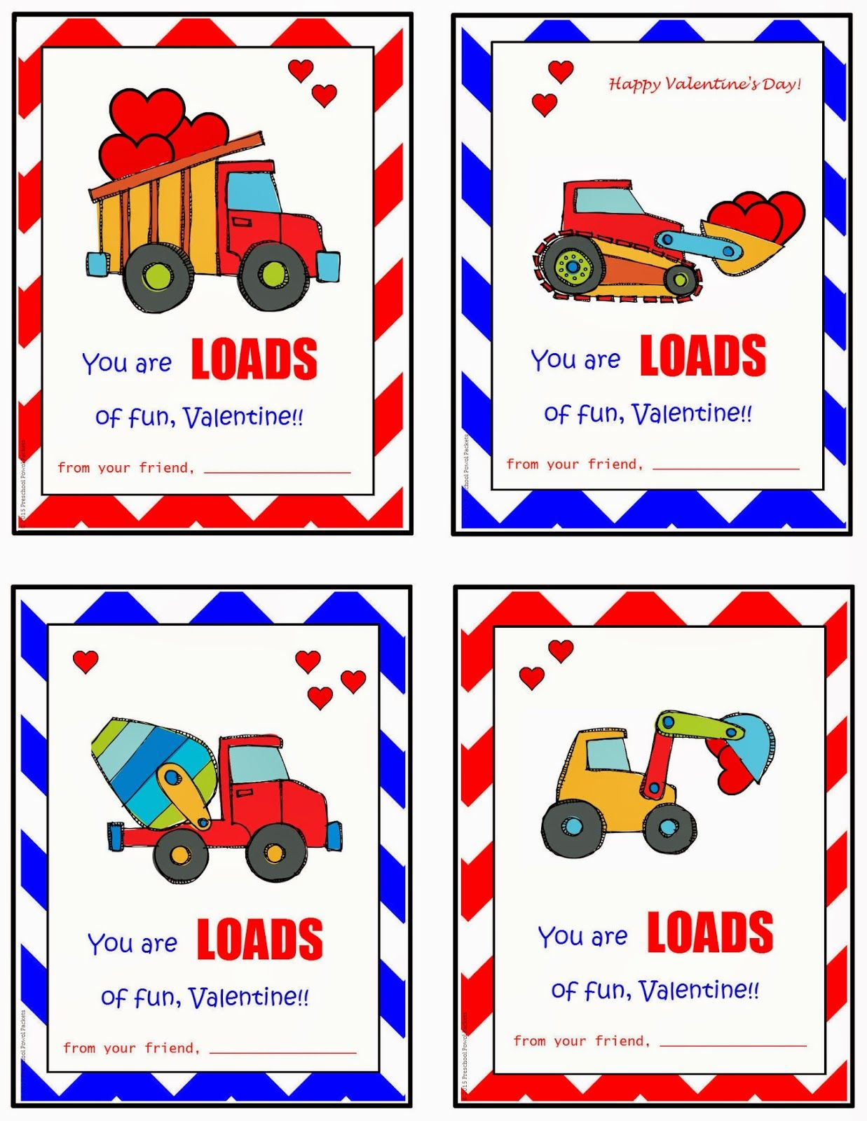 Free Printable Construction Truck Valentines