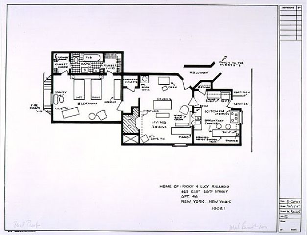 Mark Bennett, Blueprints of Fictional Houses Home of Ricky and Lucy - new blueprint plan company