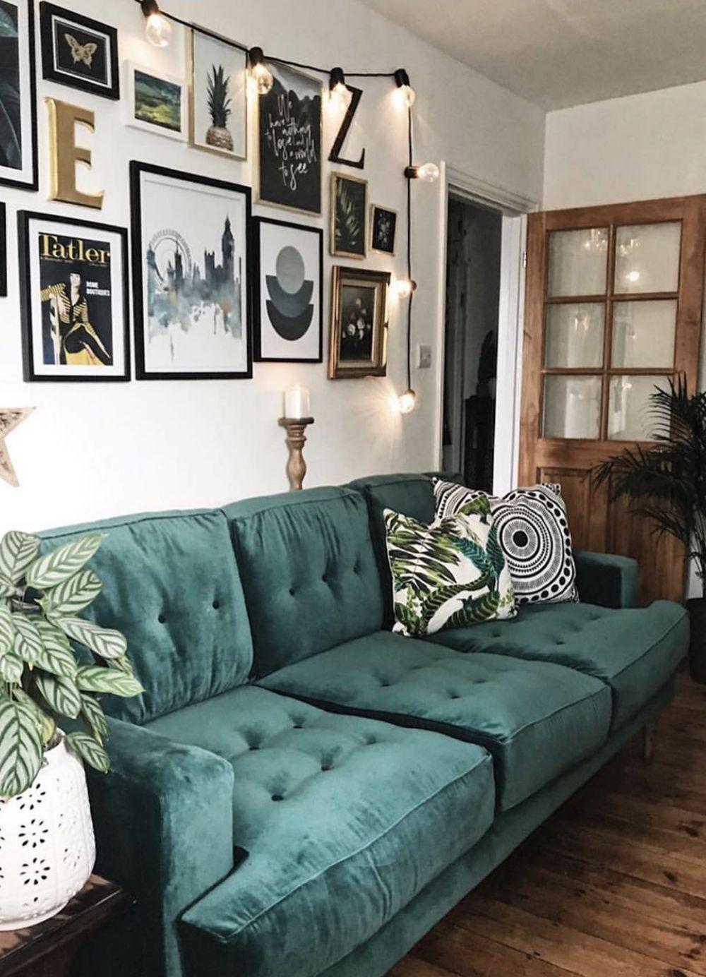 pinem on interior design in 2020  green sofa living